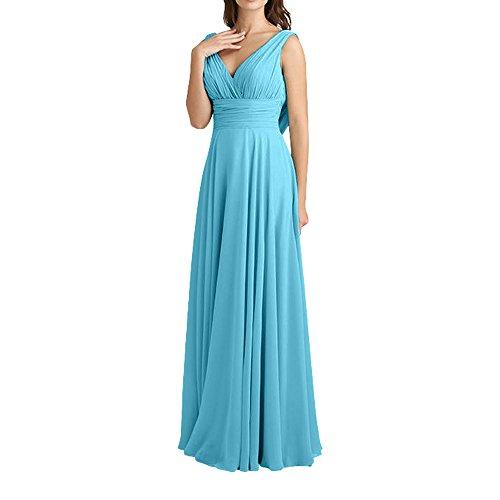 V Neu Charmant ausschnitt Lang linie Brautjungfernkleider Blau Elegant Chiffon Abendkleider FOrmalkleider Traube Damen A fIqwgZI