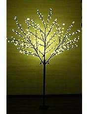 Led-bloemenboom met 400 leds, 180 cm, warmwit, lichttak, kersenbloesemboom, lichtboom, led-boom voor binnen en beschermd buiten, 180 cm met 400 leds
