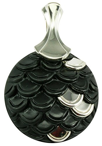Agate Enhancer - Unique Natural Black Stone Sterling Silver Pendant Enhancer