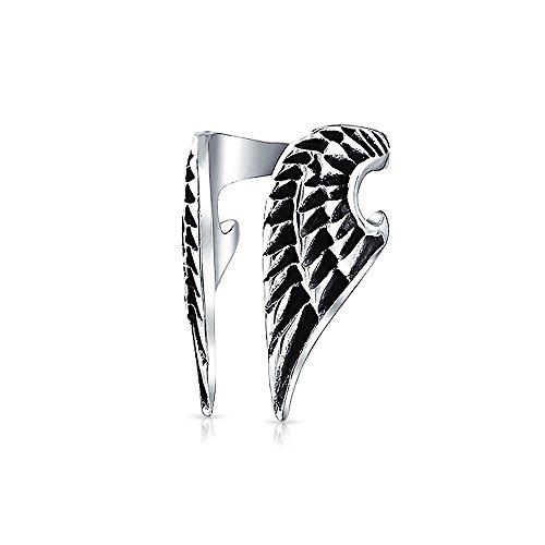 Guardian Angel Wing Feather Cartilage Ear Lobe Helix Earring Warp Ear Cuff Clip Unisex Black Oxidized Stainless Steel (Wings Men Jewelry Angel)