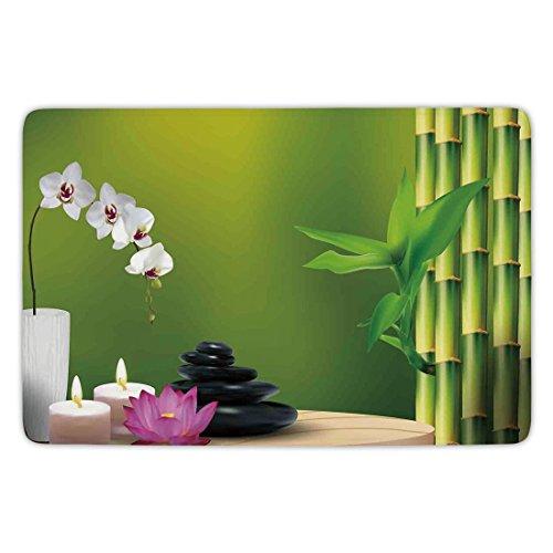 Bathroom Bath Rug Kitchen Floor Mat Carpet,Spa Decor,Bamboo Flower Stone Wax on the Table Orchid Rock Healthy Lifestyle,Flannel Microfiber Non-slip Soft Absorbent (Slip Wax Floor)