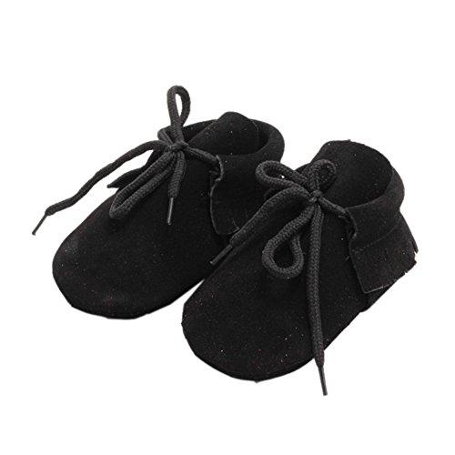 Leap Frog Lace Up Moccasins - Zapatos primeros pasos de piel vuelta para niño negro
