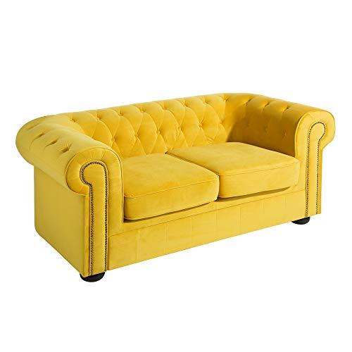 Sofá Chester tapizado de Terciopelo Amarillo de 2 plazas ...