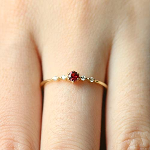 Dolland Exquisite Womens Oval Simulated Ruby Ring Wedding Engagement Party Thin Rings,#7 ()