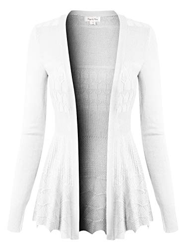 Design by Olivia Women's Long Sleeve Crochet Knit Draped Open Sweater Cardigan L, Icaw015 White