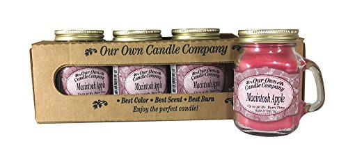 Candle Apple Macintosh - Our Own Candle Company Macintosh Apple Scented Mini Mason Jar Candle, 3.5 Ounce (4 Pack)
