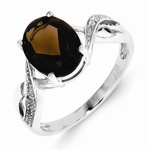 925 Sterling Silver Brown Simulated Smokey Quartz & Diamond Engagement Ring (.01 cttw.) (2mm)