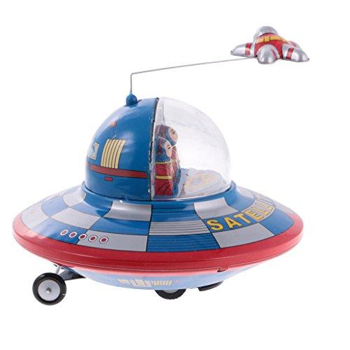 MonkeyJack Vintage Wind-Up Tin Toy Clockwork Space Ship Satellite Collectible Xmas (Model Vintage Toy Tin)