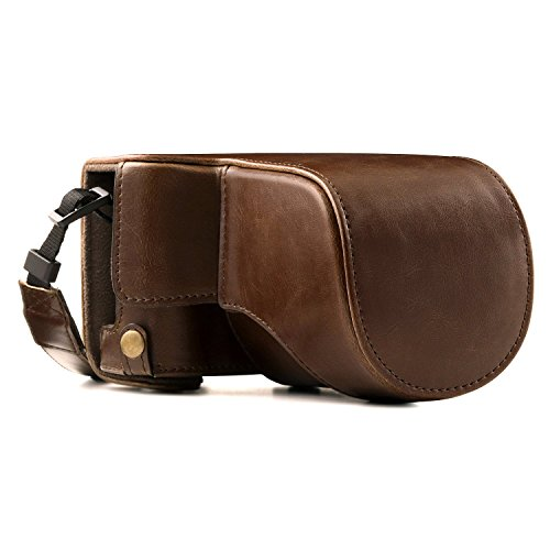 Case Fujifilm Fitted - MegaGear Fujifilm X-A5, X-A3, X-A2, X-A1, X-M1 Ever Ready Leather Camera Case and Strap, with Battery Access - Dark Brown - MG173