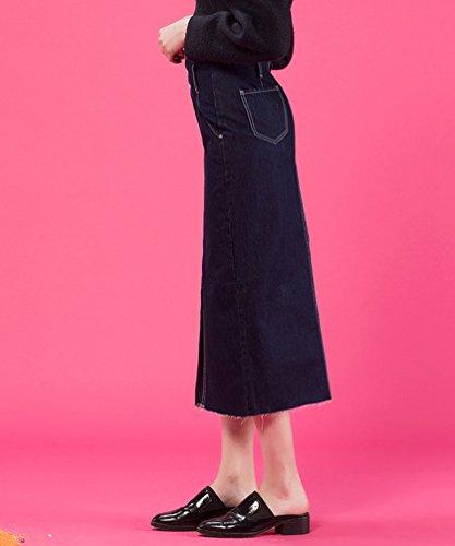 Fonc Haute Denim Jupes L'Automne Bleu Amincissante Dooxi Femmes lgante Svelte Jupe Crayon Taille Uq4If7w