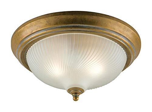 Westinghouse Lighting 6431100 Two-Light Flush-Mount Interior Ceiling Fixture, Cozumel Gold Finish with Frosted Swirl Glass ()