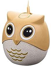 Bamboo Wooden Toothpicks Plastic Cartoon Owl Toothpick Holder Popular Pressed Toothpick Bucket Creative Dustproof with Cover Box Barrel for Toothpicks Toothpick Holder