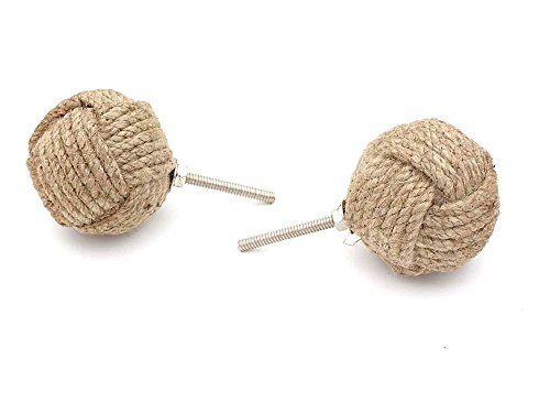 Monkey Drawer Knobs (RII Jute Rope Door Knobs/Rope Knot Drawer Pulls and Knobs/Pull and Push Handle Knobs for Cabinets, Wardrobes & Cupboards/Nautical Hardware Decor, 47 mm, Set of 4)
