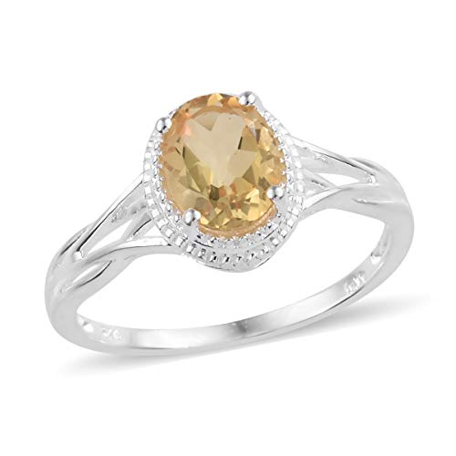 Solitaire Ring 925 Sterling Silver Oval Citrine Gift Jewelry for Women Size 11 Cttw ()