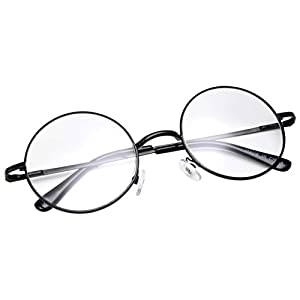 grinderPUNCH - Non-Prescription Round Circle Frame Clear Lens Glasses Small Black