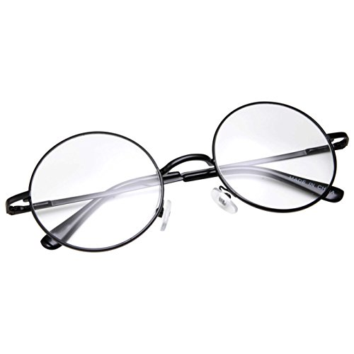 grinderPUNCH - Non-Prescription Round Circle Frame Clear Lens Glasses Small Black ()