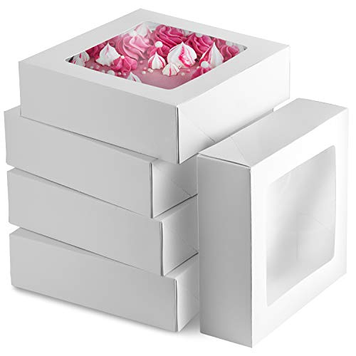 8 inch Pie Boxes With Window [25 Pack] 8x8 Bakery Box, White Treat Box, Auto-Popup, Baked Boxes for Sweet, Strawberries, Chocolate, Cookies