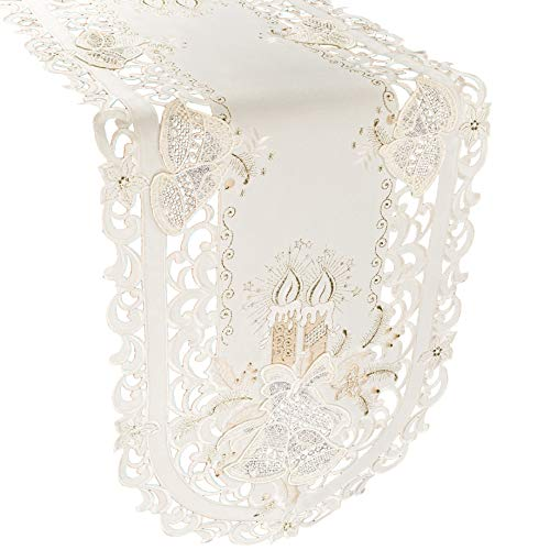 gs Embroidered Metallic Gold Candle on Ivory Table Runner Dresser Scarf 16