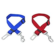 Darius Dog Seat Belt Pet Cat Car Vehicle Safety Lead Restraint Harness Seatbelt Adjustable, Nylon Material 2 Pack (Blue&Red)