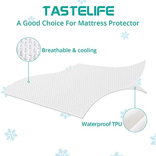 TASTELIFE Premium Bamboo Twin Size Waterproof Mattress Protector Pad Cooling & Ultra-Soft Breathable Bed Mattress Cover Fitted 8\
