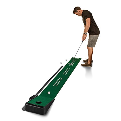 SKLZ Accelerator Pro Indoor Putting Green with Ball Return, 9 feet x 16.25 inches (Best Golf Putting Mat)