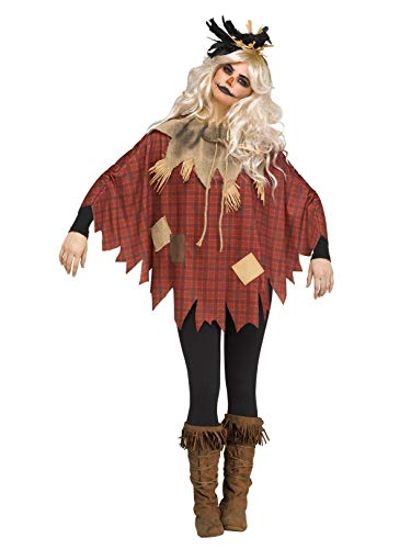 Fun World Women's Scarecrow Poncho, Multi, One