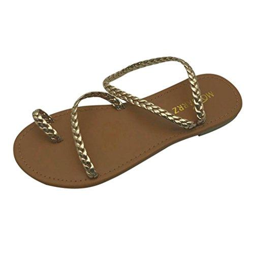 Sandalen Damen LHWY Frauen Sommer Low Heel Flip Flops Flache Lässige Strandschuhe Peep Toe Riemchen Gladiator Atmungsaktiver Slip Schuhe Oversized Gold