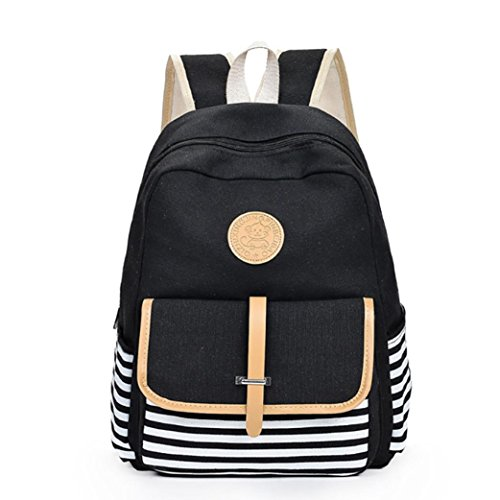 Price comparison product image Sunyastor Women Girls Vintage Casual Style Canvas Lightweight School Travel Backpack Bag Laptop (Black, One Size)