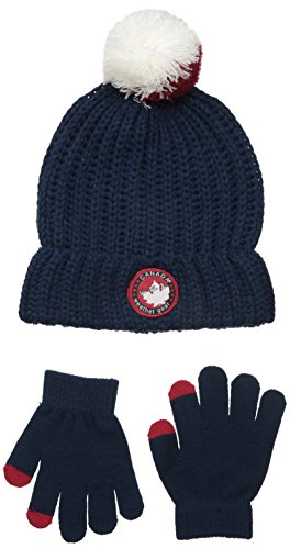 Canada Weather Gear Big Boys Three Color Pom Fold Over Beanie with Tech Touch Gloves, Navy, One Size