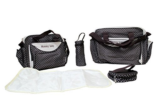 5pcs Baby Nappy Changing Bags Set (BROWN DESIGN ONE) by Mommy Baby
