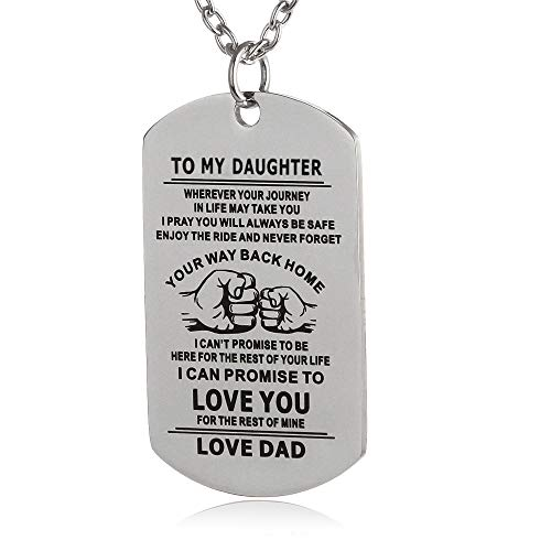 - FAYERXL to My Son Daughter Dog Tag Necklace Military Unique Gifts Ideas from Dad Mom Men Boy Kids Pendant (Dad to Daughter)
