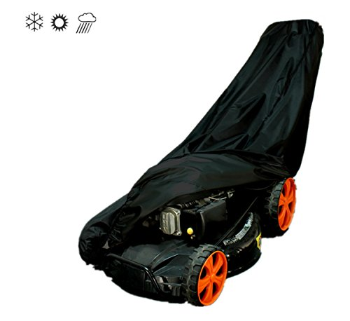 Tokept Oxford Lawn Mower Cover - Waterproof, Premium Heavy Duty -Guaranteed - Weather and UV Protected Covering for Push Mowers - Secure Draw String and Large Size for Universal Fit