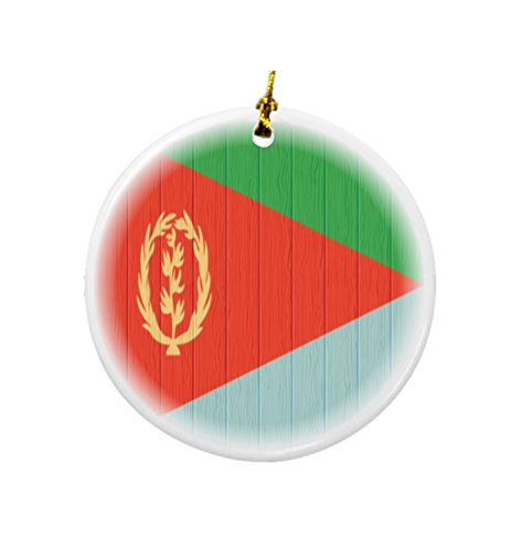 Rikki Knight Eritrea Flag on Distressed Wood Design Round Porcelain Two-Sided Christmas Ornaments by Rikki Knight (Image #1)