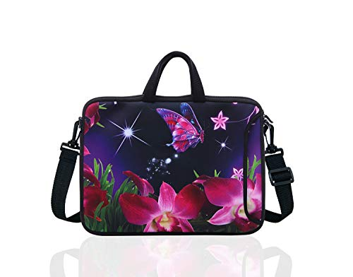 "10-Inch Laptop Shoulder Sleeve Case and Tablet Bag for Most 9.7"" 10"" 10.1"" 10.2"" Ipad/Notebook/eBook/Readers (Pink Flower)"
