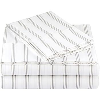 AmazonBasics Microfiber Sheet Set - Queen, Grey Stripe