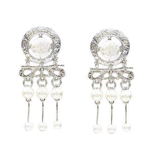(Jocund Women Classic Simple Metal Pearl Geometric Round Creative Earrings Ladies Jewelry)