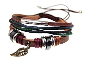 Leaf Design Trendy Multi Strand Leather Zen Bracelet, Adjustable, Gift Box
