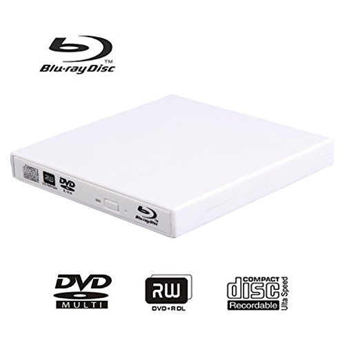External blu-ray disc drive, USB portable DVD burner,BD-ROM,DVD/CD-RW/ROM Writer/Player,Support xp/win/Linux system related desktop, notebook, etc (white) by tengertang