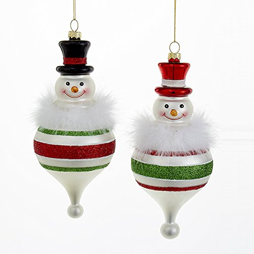 Kurt Adler 1 Set 2 Assorted 8 Inch Snowman Ball Glass Ornaments