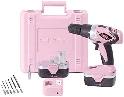 Pink Power PP182 18V Cordless Pink Drill Set for Women- Tool Case, 18 Volt Drill, Charger and 2 Batteries