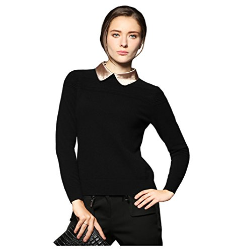 MIUK 2017 New Women's 100% Cashmere Sweater Long Sleeve Silk Polo Neck Pullovers Black - Polo Fake Brand