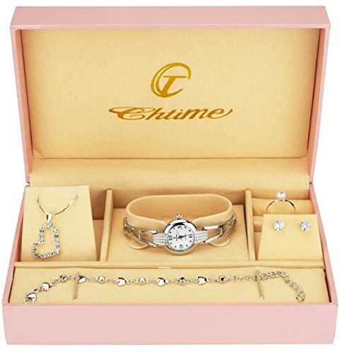 Gift Set Women's Watch Silver- Jewelry Set- Necklace-Ring- Earrings from BELLOS
