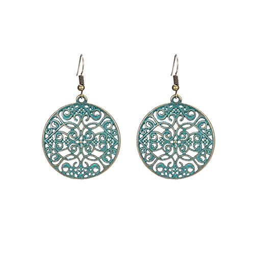 Punk Skeleton Skull Heads Earring Vintage Green Bronze Color Earrings For Women Exaggerate Round Circle Statement Jewelry,0158D (Head Shape-typen)