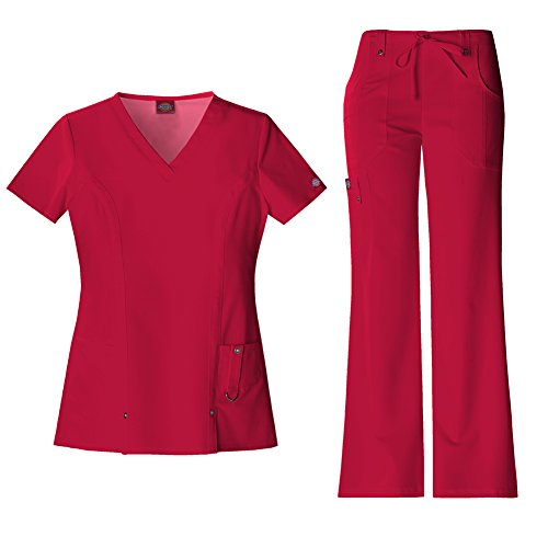 Dickies Xtreme Stretch Women's V-Neck Scrub Top 82851 & The Extreme Stretch Drawstring Scrub Pants 82011 Medical Scrub Set (Red - X-Large/XL Tall) -