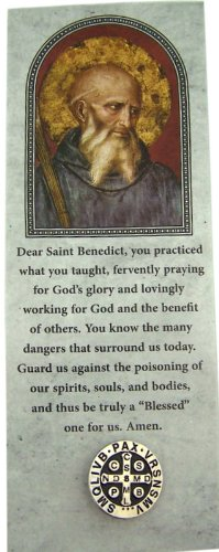 Saint Benedict Protection Medal Silver Tone Black Enamel Lapel Pin with Bookmark