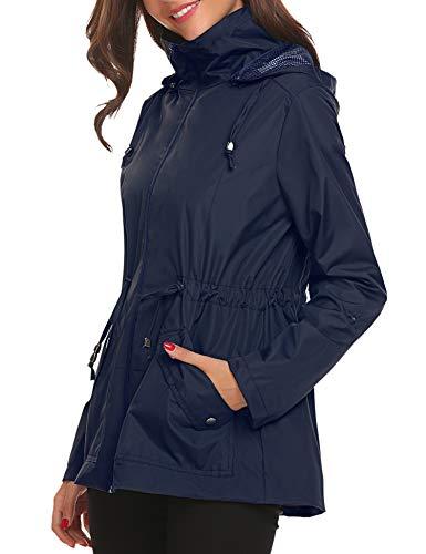Impermeable Viento Abrigo Gabardina Para Mujer Ligera Con De Resistente Capucha Azul Chaqueta Al Lomon Lluvia vaqO4wO5