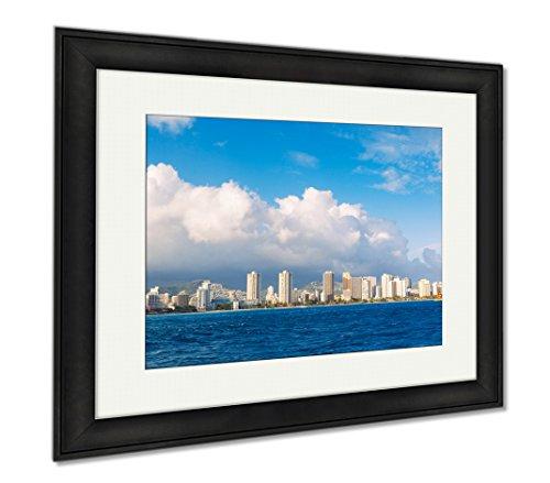 Ashley Framed Prints Honolulu City Skyline From Water, Wall Art Home Decoration, Color, 26x30 (frame size), Black Frame, - Marketplace Honolulu