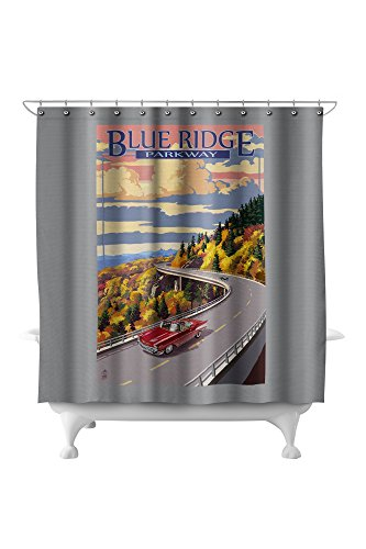 North Carolina Printed Curtain - Linn Cove Viaduct, North Carolina - Blue Ridge Parkway (71x74 Polyester Shower Curtain)