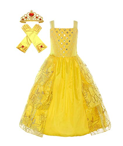 Princess Belle Dress up Costume & Play Dress Beauty Beast Accessory Gloves Tiara Crown Play-Set (4 Years, Medal Yellow) -