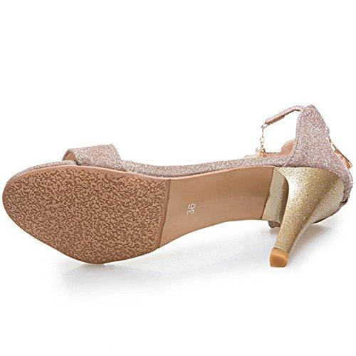 de Boda Aguja Zapatos Sandalias Verano Tacon de RAZAMAZA tobillo Mujer Elegant Oro Correa qn0Uxwtav